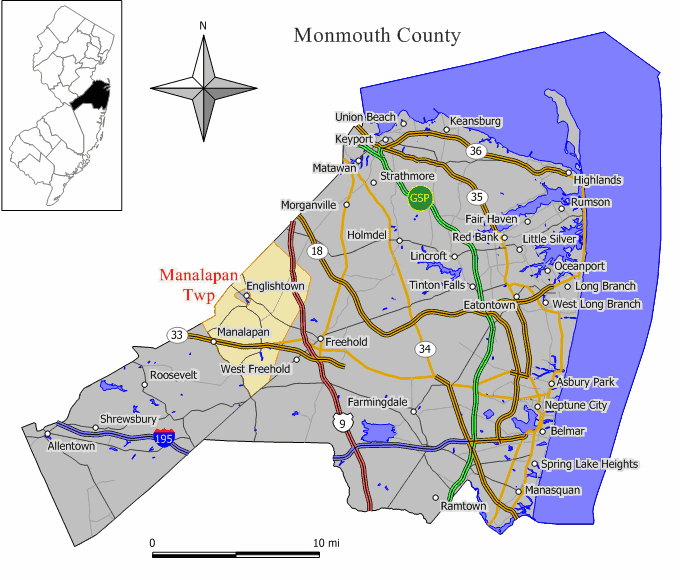 Map of Manalapan and Monmouth County NJ
